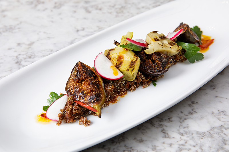 Banjo Jersey Grilled Artichoke, Fig and Quinoa Salad