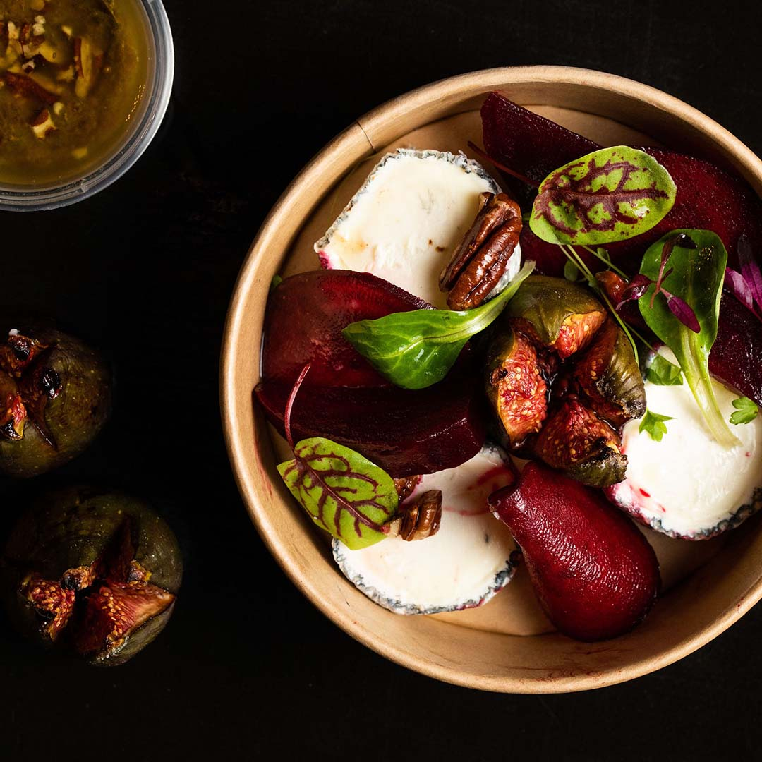 Goats' cheese and roast beetroot