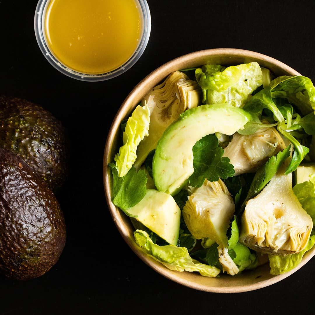 Artichoke, escarole, avocado and parsley salad